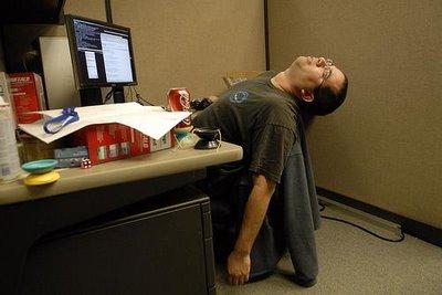 sleeping at a desk job