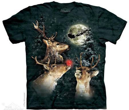 three reindeers howling at the moon