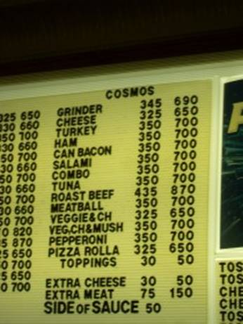 cosmo menu
