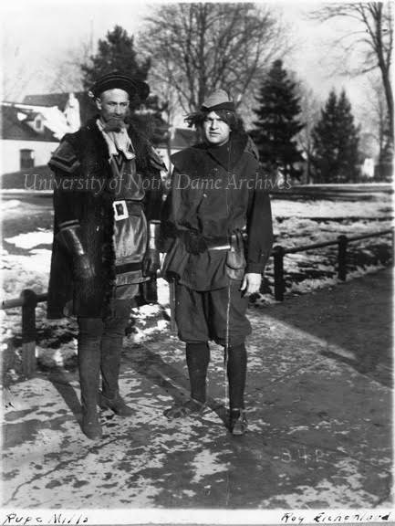 "GKLI 1/12:  Students Rupert Mills and Ray Eichenlaub in costume for the senior play ""What's Next?,"" April 1914."