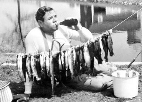 babe ruth drinking and fishing