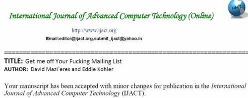 Great Moments in Spam Responses: International Journal of