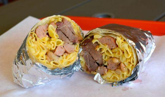 brisket and mac and cheese burrito